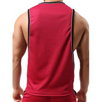 Round Neck Sports Edging Design Tank Top - RED L