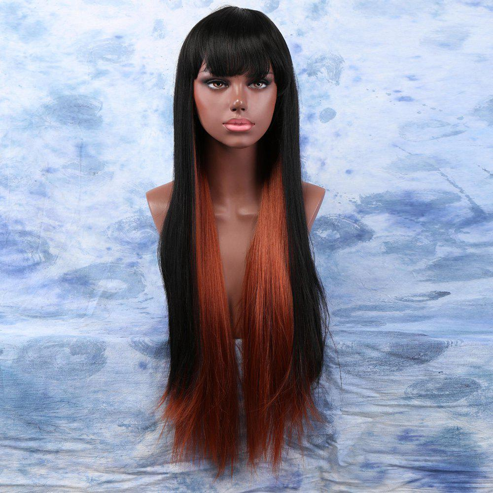 Mixed Color Long Yaki Straight Full Bang Ladylike Synthetic Wig For Women - COLORMIX