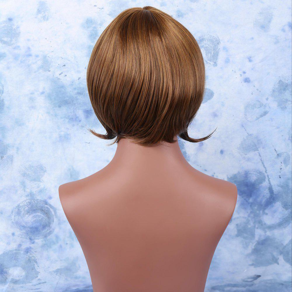 Short Alluring Brown Mixed Straight Full Bang Synthetic Wig - COLORMIX