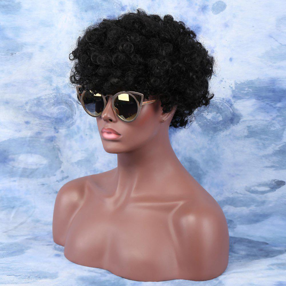 Fluffy Short Side Bang Afro Curly Synthetic Capless Wig fluffy short side bang afro curly synthetic capless wig