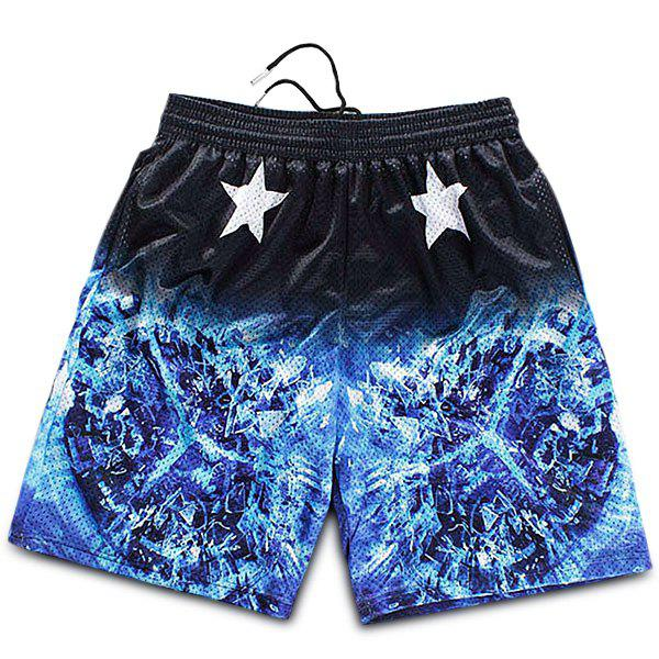 Straight Leg Drawstring Breathable Stars Print 3D Fire Pattern Men's Board Shorts - COLORMIX M