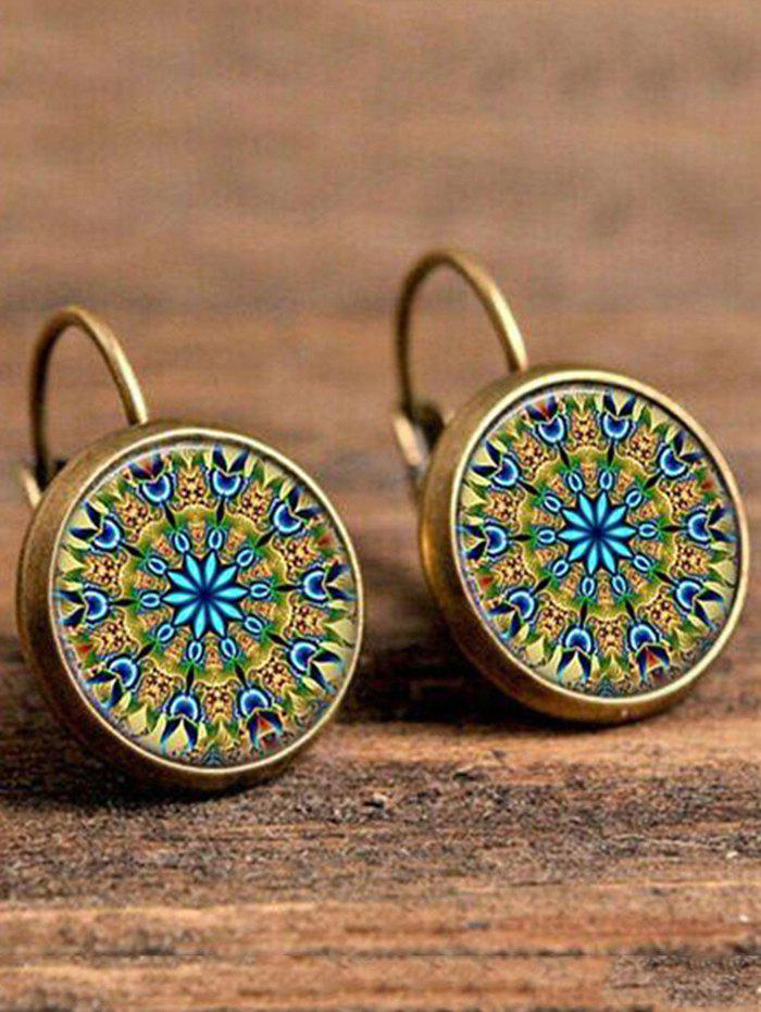 Faux Gem Circle Bohemian Drop Earrings gold plated faux gem drop earrings