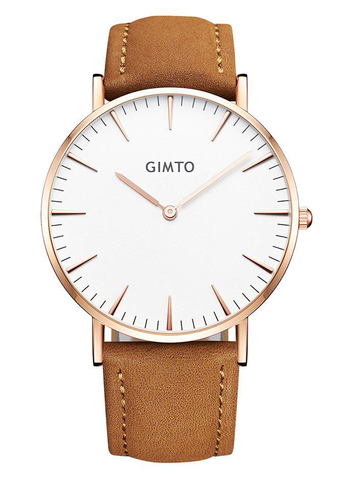 GIMTO Faux Leather Band Wrist Watch - BROWN