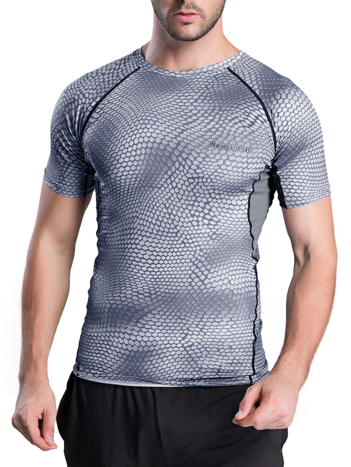 Snakeskin Pattern Short Sleeve Round Neck Quick-Dry T-Shirt - GRAY S