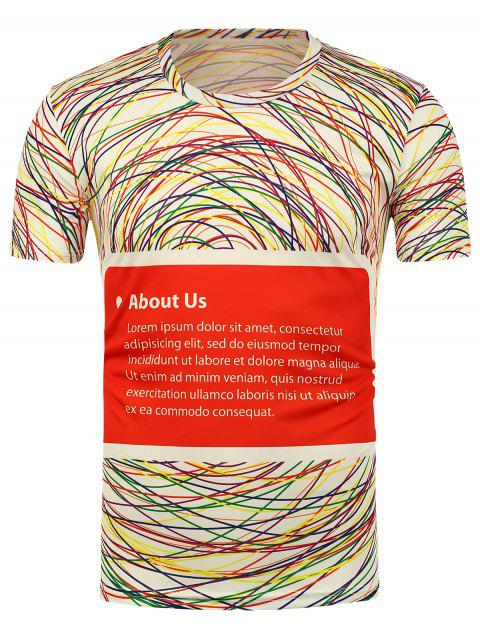 3D Colorful Lines Printed T-Shirt - WHITE XL