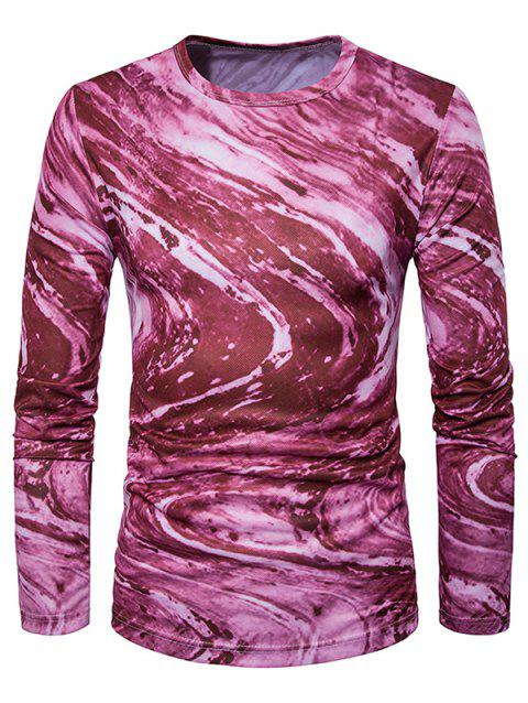 Long Sleeve 3D Ombre Rock Tie Dye Trippy T-Shirt - WINE RED L