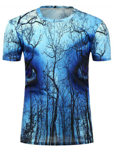 3D Eyes Forest Printed Crew Neck T-Shirt - BLUE L