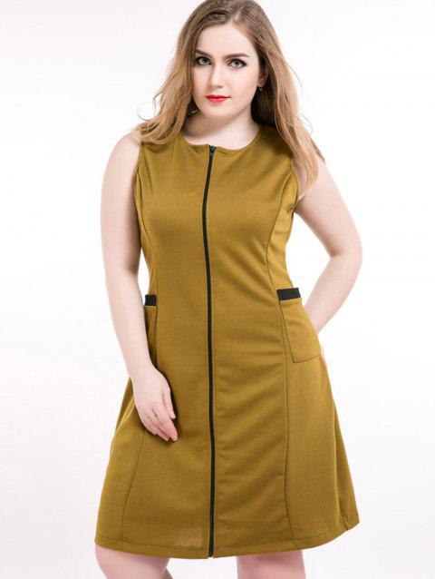 17% OFF] 2019 Front Zip Sleeveless Plus Size Dress In OLIVE GREEN ...