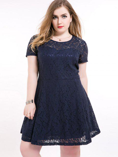 41 Off 2018 Plus Size Short A Line Lace Skater Dress In Deep Blue