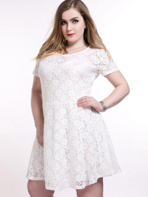 2019 Plus Size Short A Line Lace Skater Dress In WHITE 5XL ...