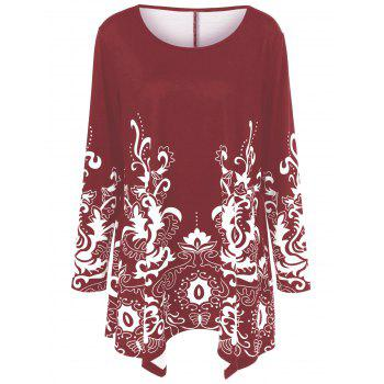 Plus Size Floral Print Asymmetric T-Shirt - RED RED