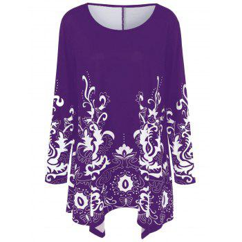 Plus Size Floral Print Asymmetric T-Shirt - PURPLE 2XL