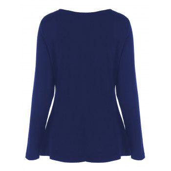 Plus Size Half Zip Sweetheart Neck T-Shirt - BLUE BLUE