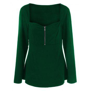 Plus Size Half Zip Sweetheart Neck T-Shirt - GREEN XL