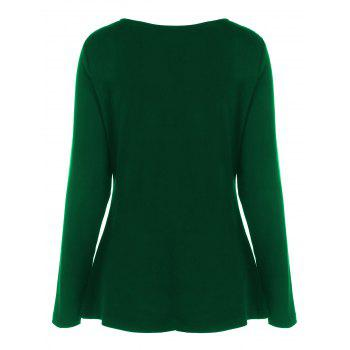 Plus Size Half Zip Sweetheart Neck T-Shirt - GREEN GREEN