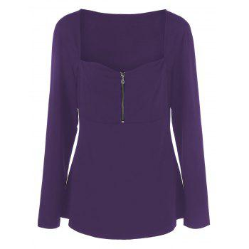 Plus Size Half Zip Sweetheart Neck T-Shirt - PURPLE 4XL