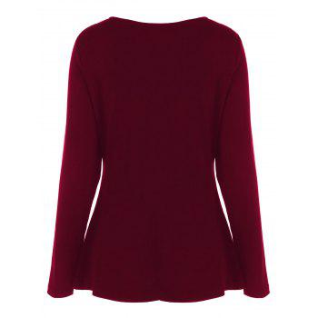 Plus Size Half Zip Sweetheart Neck T-Shirt - WINE RED WINE RED