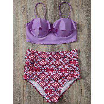 High Waisted Print Push Up Bikini - COLORMIX L