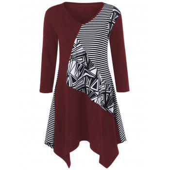 Striped Trim Asymmetrical Longline T-Shirt - WINE RED L