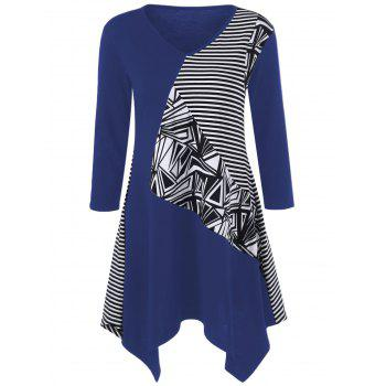Striped Trim Asymmetrical Longline T-Shirt - BLUE M