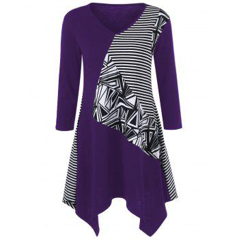 Striped Trim Asymmetrical Longline T-Shirt - PURPLE M