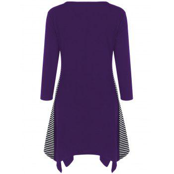 Striped Trim Asymmetrical Longline T-Shirt - PURPLE PURPLE