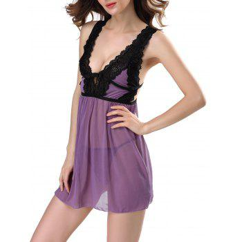 Low Cut Lace See Through Babydolls Sleepwear - PURPLE PURPLE