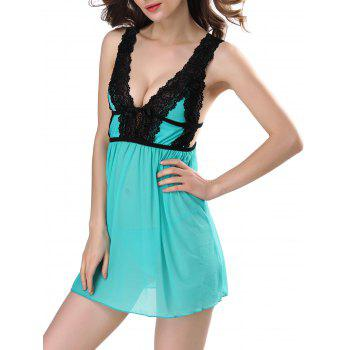 Low Cut Lace See Through Babydolls Sleepwear - GREEN GREEN