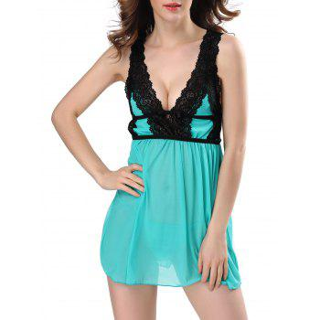 Low Cut Lace See Through Babydolls Sleepwear - GREEN 2XL