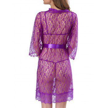 Lace See-Through Babydolls With Belt - PURPLE S