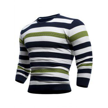 Textured Striped V Neck Pullover Sweater