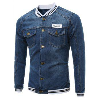 Buttoned Stripe Panel Pocket Denim Jacket