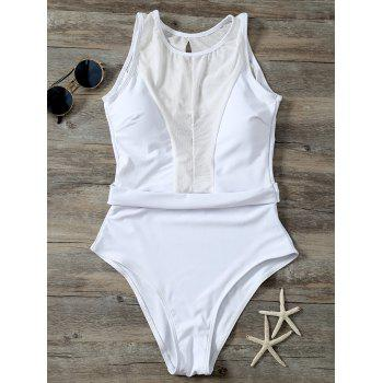 High Cut Open Back Mesh Panel One Piece Swimwear