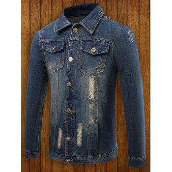Turn Down Collar Destroyed Denim Jacket