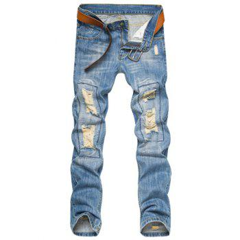 Zipper Fly Straight Leg Ripped Jeans
