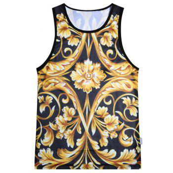 Metallic Floral Mesh Tank Top