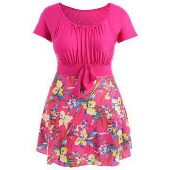 Plus Size  Floral Ruched  Skirted Swimwear