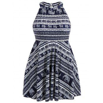 Plus Size Bandanna Printed High Neck Skirted Swimsuit