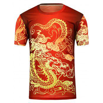 Crew Neck Dragon Print T-Shirt