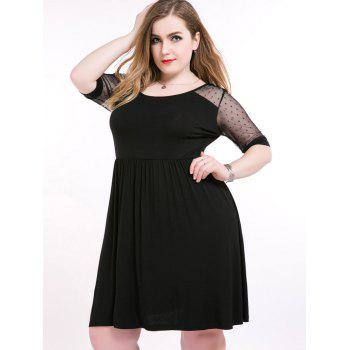 Mesh Insert A Line Plus Size Dress
