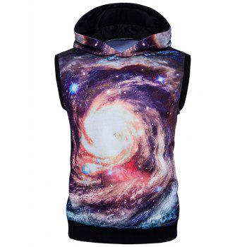 Sleeveless 3D Galaxy Print Trippy Hoodie