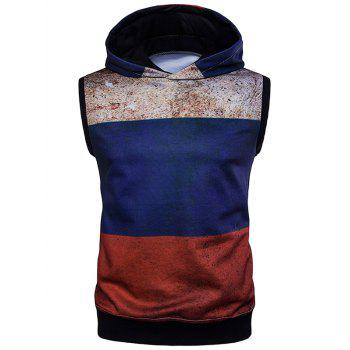 Rust Design Sleeveless Color Block Hoodie