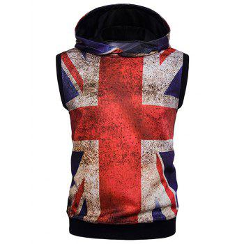 Sleeveless Rust Design Union Jack Print Hoodie