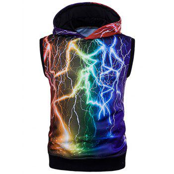 Sleeveless Colorful 3D Lightning Trippy Hoodie