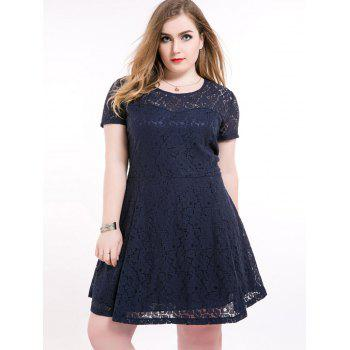 Plus Size Short A Line Lace Skater Dress
