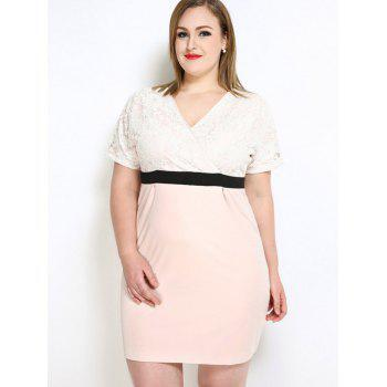 Lace Insert V Neck Plus Size Dress