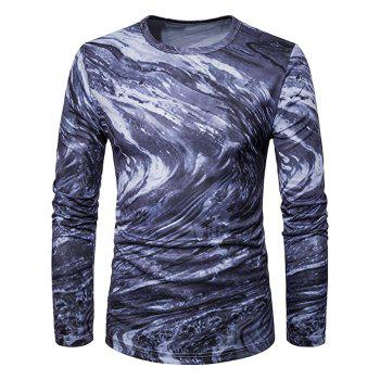 Long Sleeve 3D Ombre Rock Tie Dye Trippy T-Shirt