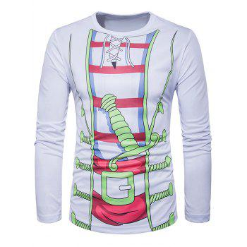 3D Costume Print Crew Neck Long Sleeve T-Shirt
