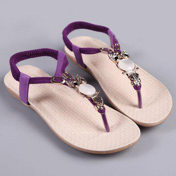 Flat Heel Elastic Faux Leather Sandals
