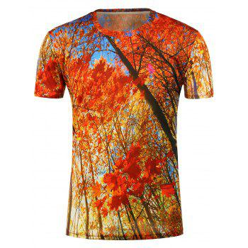 Short Sleeves 3D Maples Printed T-Shirt